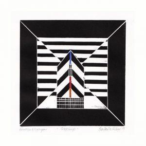Eva Laila Hilsen 1, Norway, Crossings, 2019, Linocut and Cryon, 15,2 x 15,2 cm
