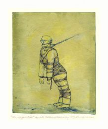Eva Pisa 1, Austria, Wrapped Daddy, 2018, Mixed Media (Etching, Ink Line Drawing) 20 x 28 cm