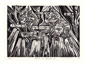Ewa Malijewska 1, The Netherlands, Freedom of Piano, 2019, Linocut, 19 x 26 cm