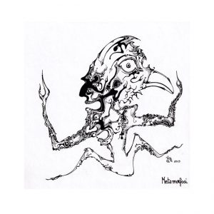 Graziano Tieppo 1, Italy, Metamorfosi, 2019, Ink Drawing, 20 x 20 cm