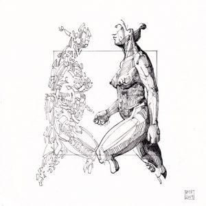 Helle Mie Hellesen 1, Denmark, Lifemodel I, 2019, Inkdrawing, 20 x 20 cm