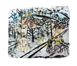 Jocelyne Benoit 1, Canada, Montagne 1, 2008, Woodcut, Collage, Watercolor, Hand Made Paper, 20 x 28 cm