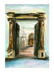 Julia Dubovyk 1, France, Chateau la Napoule #4, 2016, Acrylic on Paper, 20 x 29 cm