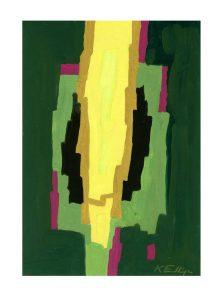 Kurt Freundlinger 1, Austria, Spiel mit Farbflächen 1, 2018, Eitempera, 29 x 20 cm