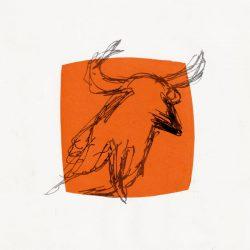 Leyla Yildiz 2, USA, Orange Bull, Vellum Litho (Pronto Plate), 20 x 20 cm