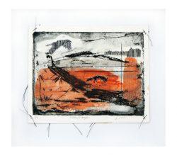 Linda Lasson 1, Sweden, Landscape I, 2019, Etching, Embroidery, 20 x 29 cm