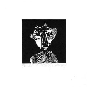 Lukasz Cywicki 3, Poland, Person of Time - 35, Linocut, 10 x 10 cm