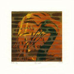 Merete Bartholdy 1, Denmark, Blinds, 2018, Linocut, 11 x 11 cm