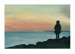 Michelle Ochonicky 2, USA, Walk at Sunset, 2018, Oil on Paper, 19,05 x 27,94 cm