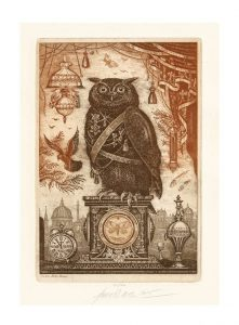 Milan Bauer 2, Czech Republic, The Owl, 2015, Etching, 12 x 20 cm
