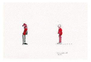 Minna Herrala 1, Conversation 5, 2019, Acrylic, Ink, 28 x 17 cm