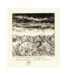 Mircea Nechita 1, Romania, Houses and Sky, 2001, Aquaforte, Aquatinta, 16 x 16 cm