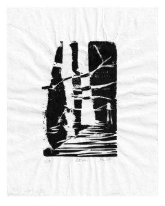 Monika Lederbauer 1, Austria, Silva ML09, Woodcut–MBRi paper (= chines. Maulbeerbaum- Rinden-Papier, 14 x 9 cm