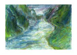 Pamela Ecker 2, Austria, Course of a River, 2018, Acrylic, Oil Pastel, 20 x 29 cm