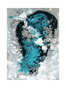 Sari Fishman 1, Israel, Water Contamination #15, 2018, Acrylic & Tar, 20 x 27 cm