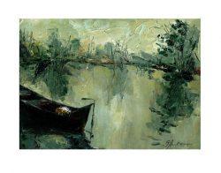 Silvia Anton 1, Romania, Reflections, 2019, Oil and Cardboard, 17 x 24 cm