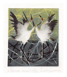 Tsvetelina Spiridonova 3, Bulgaria, Japanese Cranes, 2018, Monotone, Dry Point Needle, 27 x 20 cm