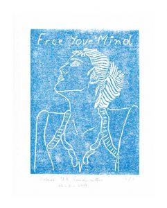 Valerie J. A. Vandermotten 1, Belgium, Free Your Mind, Linocut, 29 x 20 cm