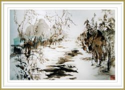 "Sylviane Leblond, France, Winter Landscape, 2013, Chinese Calligraphic Painting on Rice Paper ""marouflé"", 60 x 50 cm"