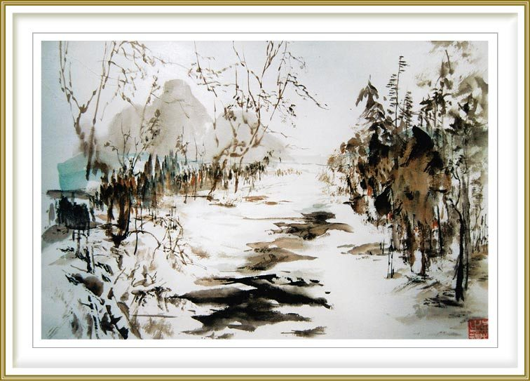 "Sylviane Leblond 1, France, Winter Landscape, 2013, Chinese Calligraphic Painting on Rice Paper ""marouflé"", 60 x 50 cm"