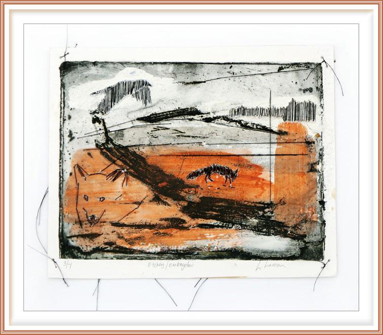 Linda Lasson, Sweden, Landscape I,  2019, Etching, Embroidery, 20 x 29 cm
