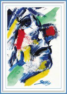 Viggo Salting, The Clown 3, 2019, Acrylic on Paper, 18 x 27 cm