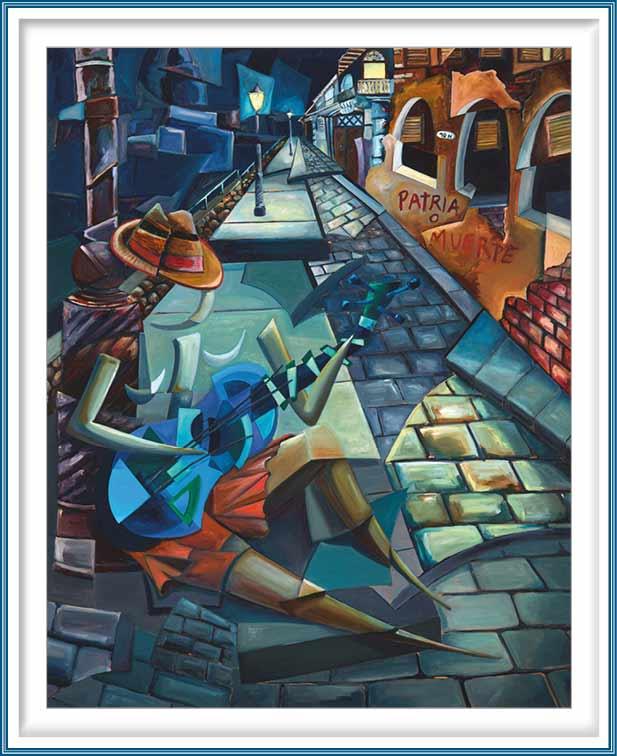 Derwin Leiva 1, USA, The Blue Guitar, 2018, Oil on Canvas, 152 x 122 cm