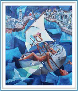 Derwin Leiva 2, USA, 90 Miles, 2019, Oil on Canvas, 91 x 76 cm