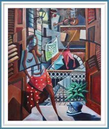 Derwin Leiva 3, USA, Amor De Balcones, 2019, Oil on Canvas, 91 x 76 cm