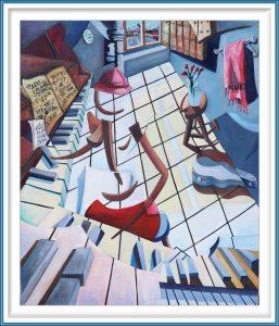 Derwin Leiva 4, USA, La Pianista, 2019, Oil on Canvas, 91 x 76 cm