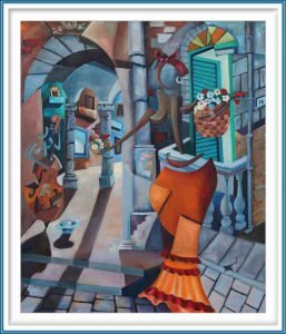 Derwin Leiva 5, USA, La Vendedora De Flores, 2019, Oil on Canvas, 91 x 76 cm
