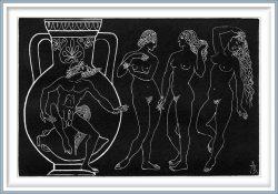 Valentina Anopova 3, Russia, Three Graces, 2002, Engraving on Copper, 10 x 15 cm