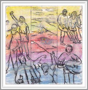 Carla Kleekamp Ferdinandus 3, Fake News, Etching, Aquarelle Blindfolded, Dry Point, 16 x 16 cm