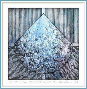 Hanna Popruha 2, Poland, Elementum II - Aqua, 2019, Etching, Digital Background, 16 x 16 cm