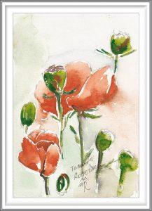 Tamara Rogozina 3, Ukraine, Poppy 3, 2018, Aquarell, 13,5 x 19,5 cm