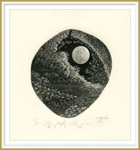 Atsushi Matsuoka 1, Japan, The Night Sky Gem, 2017, Wood Engraving, 11,7 x 10,4 cm