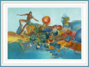 Carlos Laos Brache 1 France, L'Homme et les Mediations dans l'Ombre Bleue du Paysage, 2018, Water Color, 20 x 29 cm