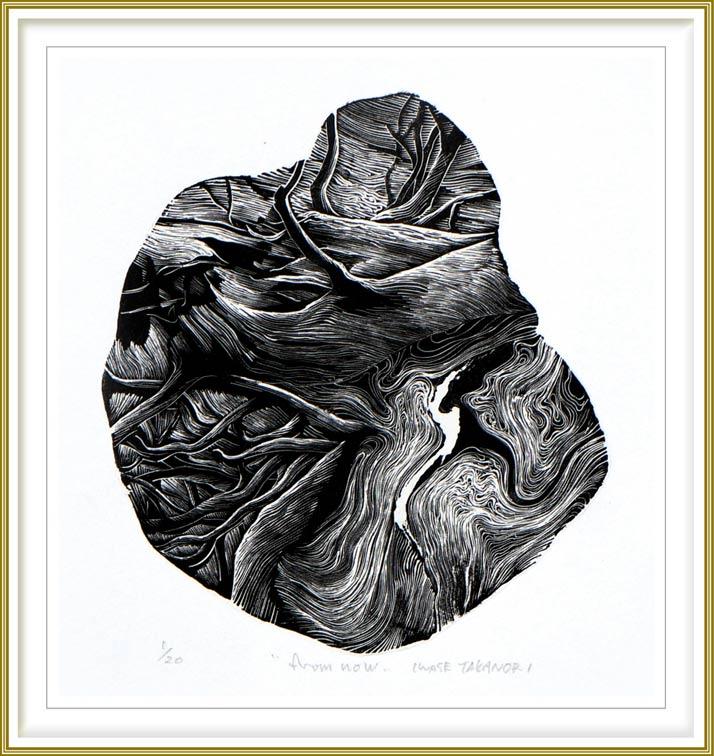Takanori Iwase 3, Japan, Dawn Song, 2019 Wood Engraving, 18 x 18 cm
