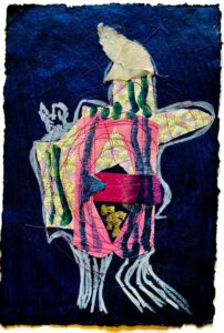 Aliza Thomas, Netherlands, The Traveler, looking For Rest, 2020, indigo dyed handmade paper, with stitched collage