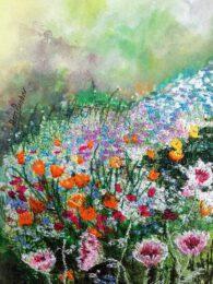 Ann Dunbar, France, Fantastic Fragility, 2020, embroidery on water colour, 29 x 20 cm