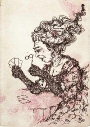 Anna Arminen, Finland, Queen of Gambling Den, 2019, etching and carborundum, 6,5 x 9 cm