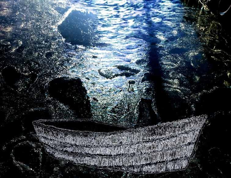 Dorte Bundesen, Denmark, Leaving Right Now, 2020, mixed media, 20 x 26 cm