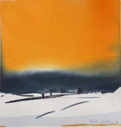 Else Juhl Lundhus, Denmark, Landscape, 2020, watercolour, 18 x 18 cm
