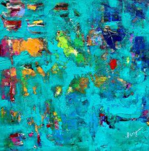 Ivy Stevens-Gupta, USA, Blue Optimism, 2020, acrylic on birch board, 20 x 20 x 4 cm
