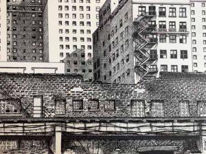 J. F. Bolet, USA, Chicago Street, 2020, ink on paper, 22,8 x 30,4 cm