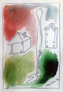 Jerzy Gorbas, Poland, Figure With Two Houses-Street, 2020, ink-water colour, 20 x 29 cm