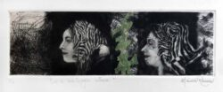 Monica Romero, Mexico, Echoes Of Self, 2021, mezzotint dry point chine-collé, 9,5 x 29 cm