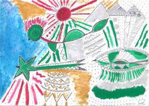 Maria Margherita Martinelli, Italia, My UFO, 2020, ink, tempera colours on paper, 20 x 29 cm