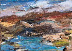 Pamela Ecker, Austria, Canarian Landscape, 2019, photo collage and oil pastel on cardboard, 17 x 23,5 cm