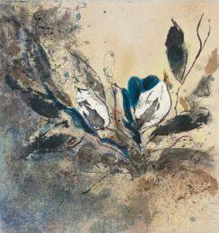 Sabrina Villaseñor V, Mexico, Unyielding, 2021, sumi ink,walnut ink, acrylic, pastel on washi japanese paper, 21 x 20 cm